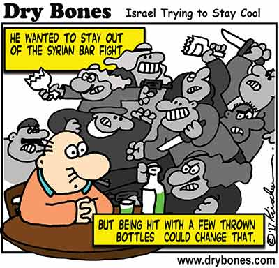 Dry Bones cartoon,Golan Heights, Israel, Syria, Syrian War, missiles,