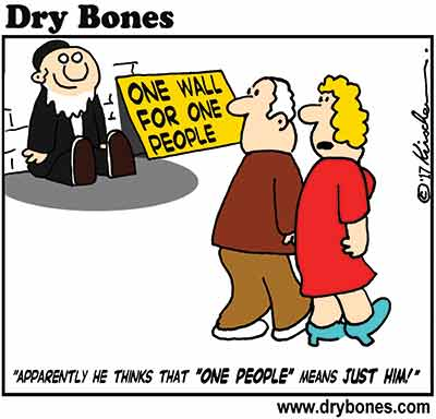 Dry Bones cartoon,Kotel, Western Wall, Haredim, Jews,Netanyahu,