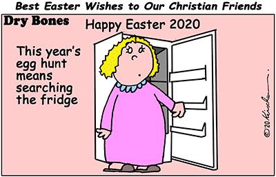 Dry Bones cartoon,pandemic, Life in the Time of Corona, Easter, lockdown, Christian,