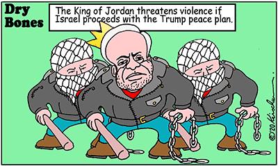 Dry Bones cartoon,Israel, Trump,Jordan, Judea, Samaria, Peace, Palestinians,