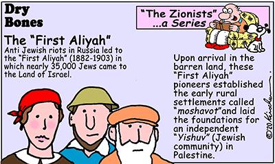 Dry Bones cartoon,First Aliyah,Zionists, series,