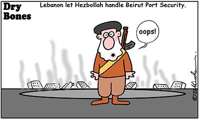 Drybones cartoon, explosion, Hezbollah,Lebanon,Beirut,