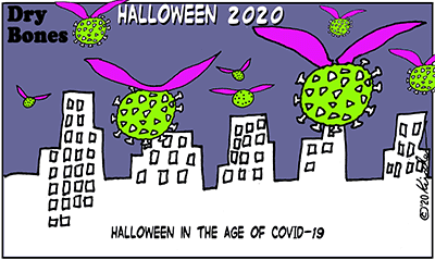 Dry Bones cartoon,Holiday,pandemic, Halloween, COVID19,2020,
