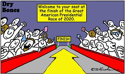 Dry Bones cartoon, America, 2020,Presidency, Biden,Trump,