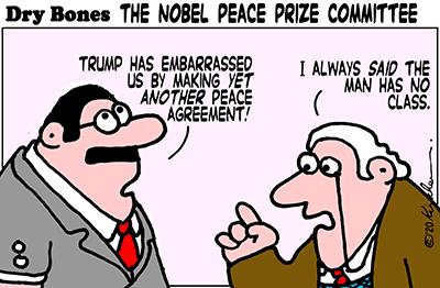 Dry Bones cartoon, Sudan, Israel,Peace,Trump,Nobel peace prize,