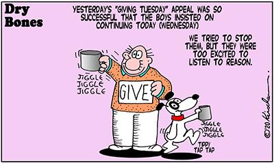 Dry Bones cartoon,Giving Tuesday, donate,Shuldig,Doobie,