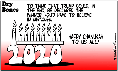 Dry Bones cartoon,Holiday,Chanukah, Trump, 2020,