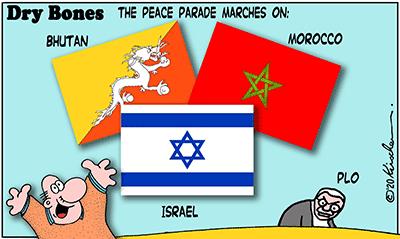 Dry Bones cartoon,Trump,Peace, Morocco, Israel, Bhutan,