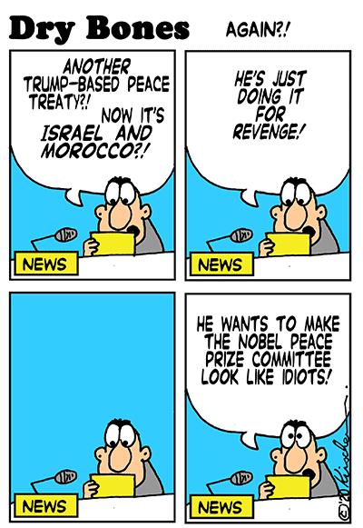 Dry Bones cartoon,Trump,Peace, Morocco, Israel, Abraham Peace Accords,