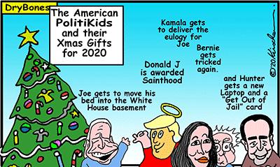 Dry Bones cartoon, Biden, Trump, Kamala,Hunter,Christians,Bernie Sanders, Christmas tree, Christmas, America, politics,