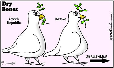Dry Bones cartoon, Kosovo, Czech Republic, Jerusalem, Abraham Accords,Israel, Peace, Middle East,Trump,