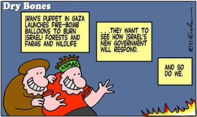 Dry Bones cartoon,donate, Bennett, Bibi, Gaza, Iran, Hamas, Israel, politics, balloons, fires,