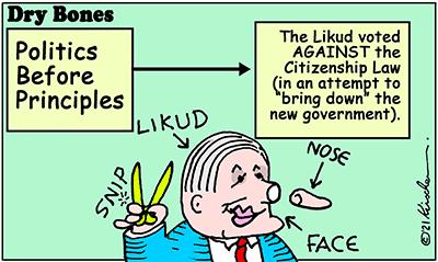 Dry Bones cartoon,donate, citizenship law, Bibi, Israel, Likud,