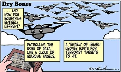 Dry Bones cartoon,donate, Gaza, IDF, Israel, drones, swarms,