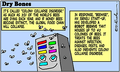 Dry Bones cartoon,donate, bees, start-up, Israel,Beewise,