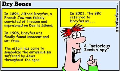 Dry Bones cartoon,donate,BBC, antisemitism, Dreyfus, France,