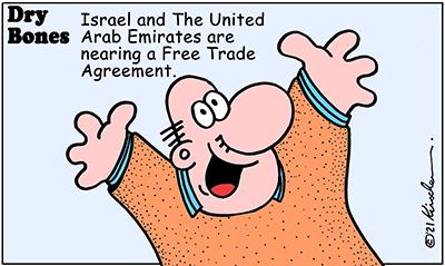 Dry Bones cartoon,donate, Abraham Accords,Arabs, Israel, Peace,UAE, Free Trade Agreement, FTA,
