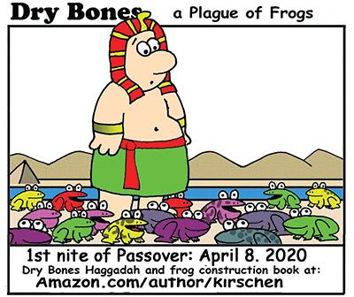 Dry Bones cartoon,frogs, Passover, holiday, Haggadah,Jews, Judaism, Jewish culture,